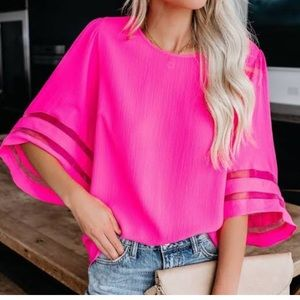 Umgee Bright Pink Bell Sleeve Burnout Stripe Top